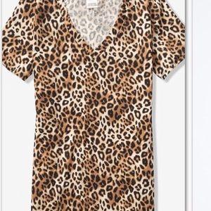 Pink Victoria secret leopard print short sleeve L
